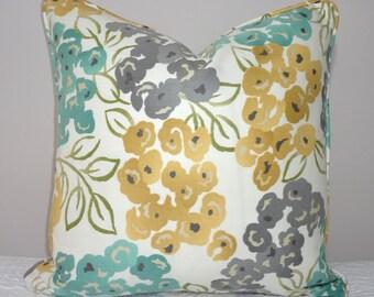 Robert Allen Blue Gold Green Floral Pillow Cover Home Decor Piping Cording Choose Size