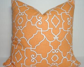 Covington Windsor Mandarin Orange & White Geometric Trellis Pillow Cover Decorative Pillow Cover All Sizes