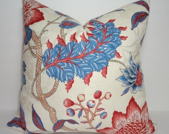 Blue Red Floral Print Pillow Covers Decorative Throw Pillow Covers Large Floral Print Pillow Covers 18x18
