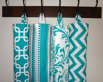Plastic Bag Holder Grocery Bag Storage Kitchen Bag Storage Turquoise Geometric Stripe Damask Chevron Storage Bag Holder