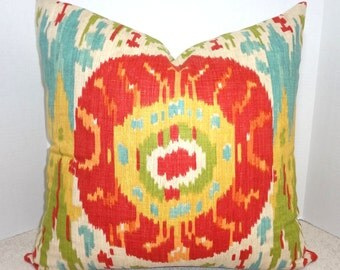 INVENTORY REDUCTION Red Suzani Print Pillow Cover Euro Sham Red Green Blue Gold Ikat 24x24 Euro Sham