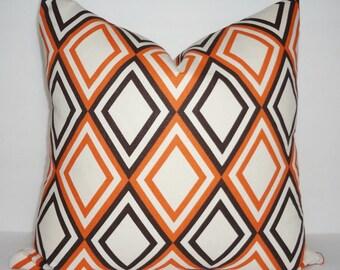 Decorative Pillow Accent Pillow Brown & Orange Diamond Annie Sweet Potato Geometric Pillow Cover 18x18
