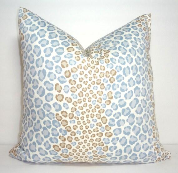 Animal Print Throw Pillow Covers : Decorative Animal Print Pillow Cover Leopard Grey Blue Tan