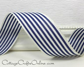 "Wired Ribbon, 1 1/2"" wide, Navy Blue and Ivory Stripe - THREE YARDS - Offray ""Newport Navy"", July 4th, Nautical Wire Edged Ribbon"