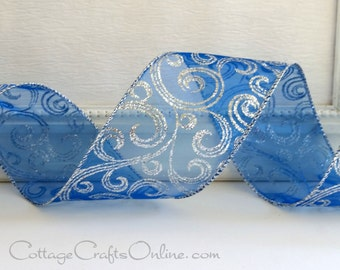 "Wired Christmas Ribbon, 2 1/2"", Royal Blue Sheer, Silver Glitter Filigree - THREE YARDS - Offray, ""Shimmerz"" Hanukkah Wire Edged Ribbon"