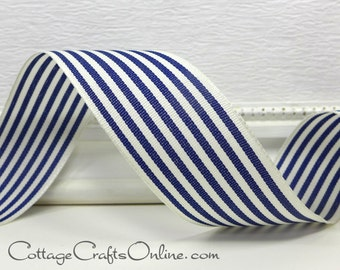 "Wired Ribbon, 1 1/2"", Navy Blue and Ivory Stripe - ONE & 1/2 YARDS - Offray ""Newport Navy"", #706011 July 4th, Nautical Wire Edged Ribbon"