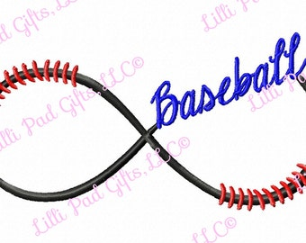 Baseball Infinity Swirl - Machine Embroidery Design - 9 Sizes
