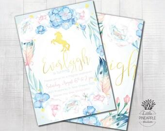 Unicorn and Peonies Pastel Themed Birthday Party Invite DIY Printable