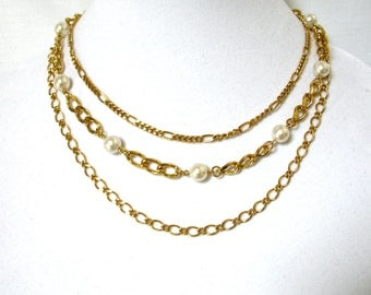 """1970's Pearl Multi Chain Necklace, faux white pearls, 20"""" chain, multiple chains, gold tone, Gift Idea, Excellent"""