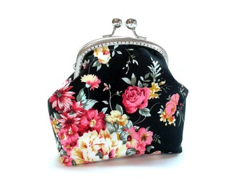 Cosmetic Bag - Kiss Lock Purse with cards slot  - Silver Frame - Frame Coin Purse - Floral Cotton Purse