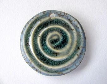 Stone Blue Sea Spiral Pendant Stoneware Clay