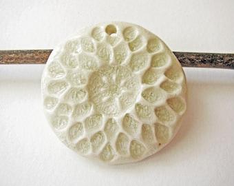 White Snowflake Pendant Stoneware Clay