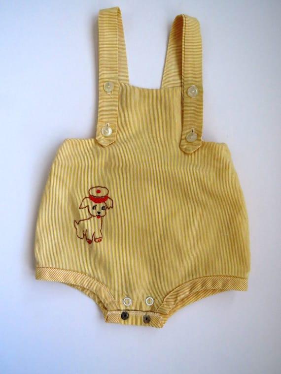Vintage Baby Boy Infant Sunsuit With Plastic Liner Size