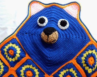 Bear Blanket Afghan Throw Crochet - Baby, Toddler and Child - Orange Blue and Yellow