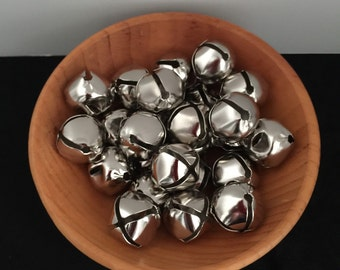 "25 Silver Color Bells 1"" Wide -Christmas, Crafts, Supplies, Wreaths"