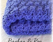 ON SALE Ready to Ship! ~ Handcrafted Crochet Baby Blanket by Booboo & Reg ~ Iris Blue ~Baby Shower Gift~Premium Heirloom Quality