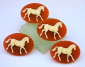 4 Horse Pony Stallion Equestrian Buttons Carnelian and Ivory 3D Wedgewood Style