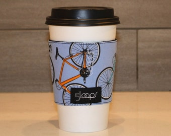 Reusable Coffee Cup Cozy Bicycles Fabric Print Reusable Cup Sleeve in Bike Print