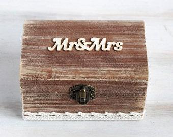 Ring Bearer Box Wedding Ring Box Mr & Mrs Ring Bearer Box Custom Ring Box Pillow Alternative Ring Box Holder Rustic Box Proposal Ring Box