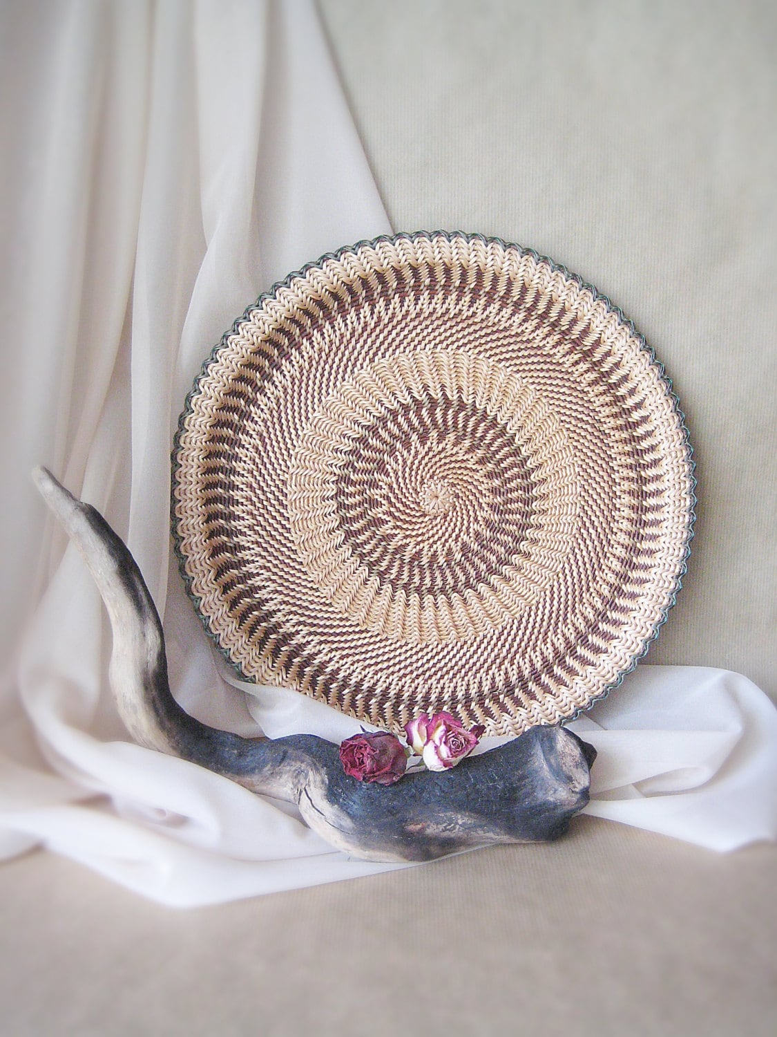 Hand woven wicker wall art decor Ethnic home decor Rustic