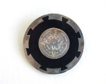 Aztec Sun Brooch Pin Vintage Mexican Jewelry Ancient Meets Modern Black Resin Jewelry