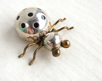 Beetle Brooch Pin Vintage Mexican Lady Bug Sterling Silver Brass Mixed Metal Taxco Jewelry Insect Artisan Jewelry