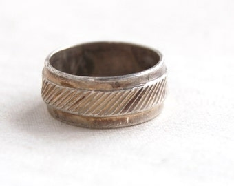 Wide Mexican Ring Band Size 6 .75 Vintage Textured Sterling Silver Wedding Band Industrial Jewelry