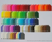 125 Scalloped Tags. CHOOSE SIZE & COLORS. Red, Orange, Yellow, Green, Blue, Purple, Black, White, Brown. Wedding, Favor.