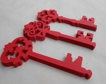 50 Cardstock Skeleton Keys. 5 inch. CHOOSE YOUR COLORS. Tag, Escort Cards, Wedding, Wishing Tree