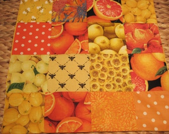 "14"" x 14""  PILLOW COVER - Delicious Orchard Lemons Oranges Grapefruit Citrus Fruits and Bees as Pollinators"