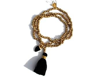 Black SPINEL & LOTUS w ethiopian brass beaded tassel mala necklace