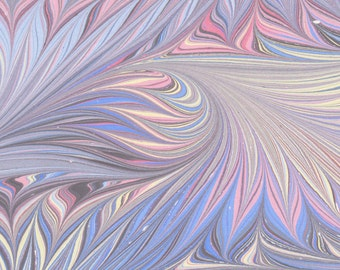 Art on Water handmade marbled paper, 19x25in (48x64cm), soft purple birdwing pattern