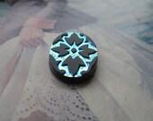 Czech Black and Sapphire AB Glass Scarabe Leaf Design 25x18mm  Intaglio Cab 1Pc.
