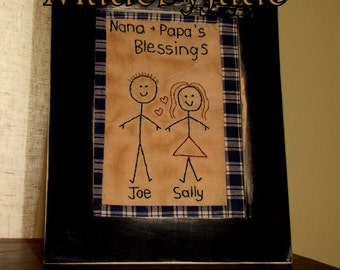 Nana's and Papa's Blessings Primitive Stitchery Country Housewarming Gift Christmas Gift