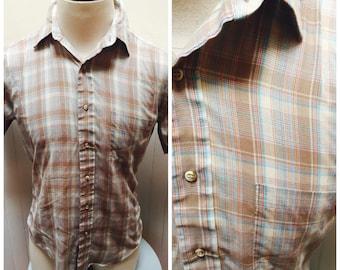 Vintage 1980s Brown& Blue Plaid Short Sleeve Button Down Carl Michaels Shirt- M