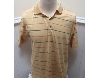 Vintage 1980s Jack Price Yellow Striped Golf/Polo Short Sleeved Shirt - L