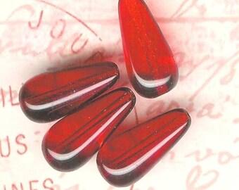 Ruby 20x 9mm Preciosa Glass Teardrop Drop Beads-4 piece pack
