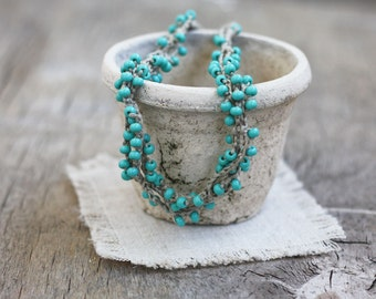 Linen necklace with mint blue glass beads Rustic Natural Boho chic jewelry Fall fashion