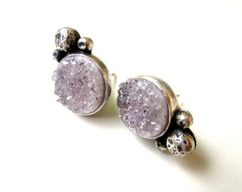 Pobrecito - organic primitive mystical tiny pastel lilac purple crystal agate drusy stone & sterling silver bezel metalwork post earrings