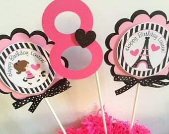 3 Paris Birthday Party Centerpiece Sticks