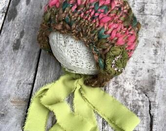 new born bonnet,knitted bonnet,green and pink bonnet