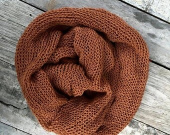 rust knitted wrap,knit baby wrap