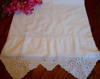 Antique Pillowcase White Victorian Single Pillow Slip Bed Linens Heirloom Bedding