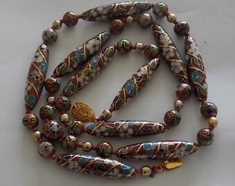 Vintage Cloissone Chinese Enamel Beads Necklace - BEAUTIFUL