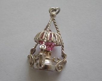 Vintage Silver Oil Lamp Glass Charm - GORGEOUS