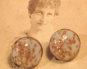 Vintage Venetian Glass Clip On Button Earrings