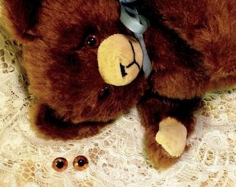 Teddy Bear Eyes Vintage Handblown Glass 14MM