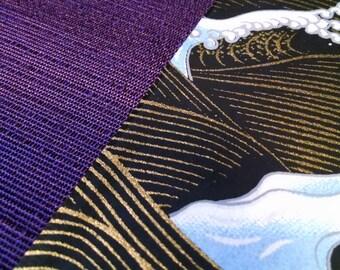 Handmade, One-of-a-Kind Purple With Black Ocean Waves Blank Journal/Sketchbook - M034