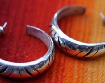Vintage Mexican Pierced Large Filigree Hoop Sterling Silver Earrings