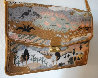 Vintage 60s 70s tapestry needlepoint fantasy art shoulder bag peaceable kingdom french company